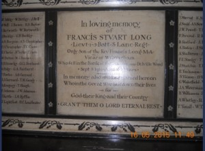 St Mary WW1 plaque Lt Long