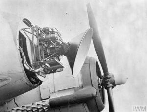 Air Interception radar: AI Mark VIIIA scanner unit mounted on the nose of a Bristol Beaufighter Mark VIF night fighter.