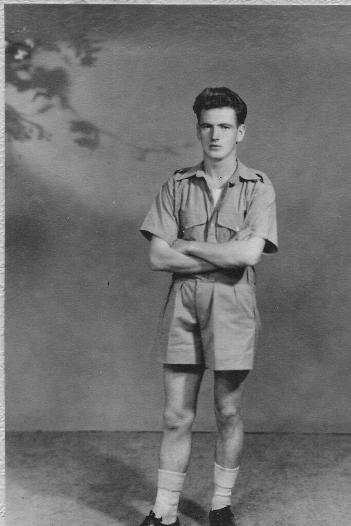 Studio photo of Jim in tropical kit Blackpool 1943